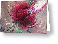 Passionate Kiss Red Tan Peach Love Abstract By Chakramoon Greeting Card