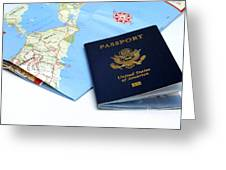 Passport And Map Of Bermuda Greeting Card by Amy Cicconi