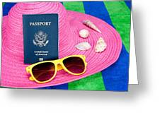 Passport On Pink Hat Greeting Card