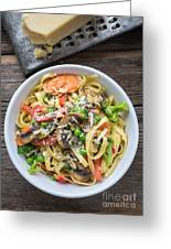 Pasta Primavera Dish Greeting Card by Edward Fielding