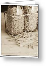 Pasta Sepia Toned Greeting Card by Edward Fielding