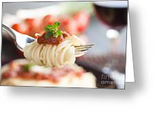Pasta With Ingredients Greeting Card