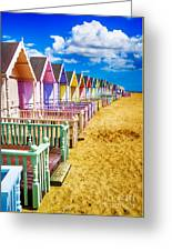 Pastel Beach Huts 2 Greeting Card