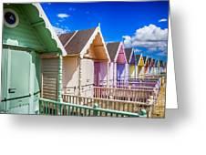 Pastel Beach Huts 3 Greeting Card