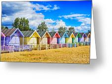 Pastel Beach Huts Greeting Card by Chris Thaxter