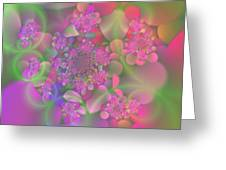 Pastel  Fractal Flower Garden Greeting Card