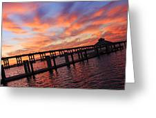Pastel Painted Sky At The Pier Greeting Card