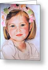 Pastel Portrait Of Girl With Flowers In Her Hair Greeting Card
