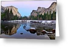 Pastel - Sunset View Of Yosemite National Park. Greeting Card