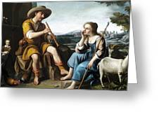 Pastoral Scene With A Shepherd Family Against A Countryside Background Greeting Card