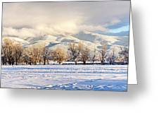 Pasture Land Covered In Snow With Taos Greeting Card