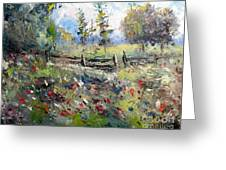 Pasture With Fence Greeting Card