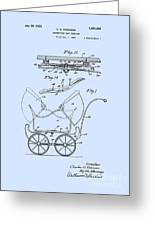 Patent Art Robinson Baby Carriage Blue Greeting Card