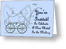 Patent Art Robinson Baby Carriage Invite-blue Greeting Card