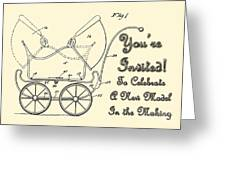 Patent Art Robinson Baby Carriage Invite Yellow Greeting Card