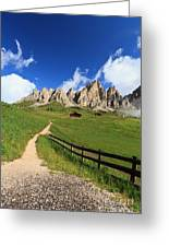 path in Gardena pass Greeting Card