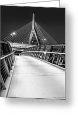 Path To The Zakim Bridge Bw Greeting Card