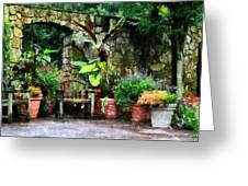 Patio Garden In The Rain Greeting Card by Susan Savad