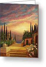 Patio Il Tramonto Or Patio At Sunset Greeting Card by Evie Cook