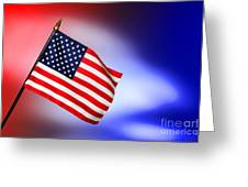 Patriotic American Flag Greeting Card by Olivier Le Queinec