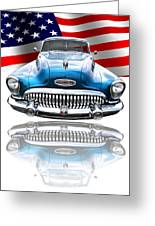 Patriotic Buick Riviera 1953 Greeting Card