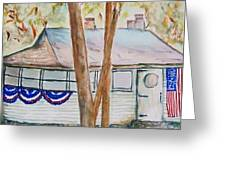 Patriotic Cottage Greeting Card
