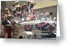 Patriotic Cowgirls Firetruck July 4th Parade Prescott Arizona 2002 Greeting Card