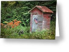 Patriotic Outhouse Greeting Card