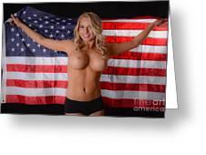 Patriotic Sexy Woman  Greeting Card