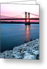 Patriotic Sunset Thru Bridge Greeting Card