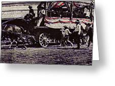 Patriotic Wagon Stone And Congress Tucson Arizona C.1900 Restored Color Texture Added 2008 Greeting Card