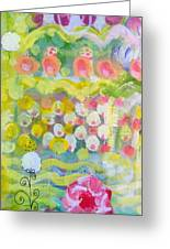 Pattern Of Roses And Flowers Greeting Card