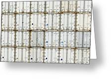 Pattern Of Shipping Container Stack At Depot Greeting Card