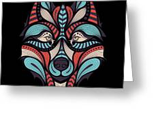 Patterned Colored Head Of The Wolf Greeting Card