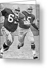 Paul Hornung Running Greeting Card by Gianfranco Weiss