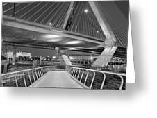 Paul Revere Park And The Zakim Bridge Bw Greeting Card