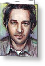 Paul Rudd Portrait Greeting Card by Olga Shvartsur
