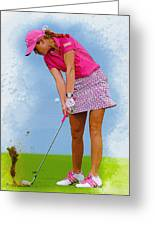 Paula Creamer In Actionon The Evian Masters Greeting Card