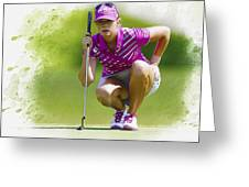 Paula Creamer Lines Up Her Putt Greeting Card