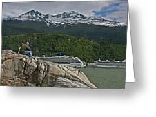 Pause In Wonder At Cruise Ships In Alaska Greeting Card by John Haldane