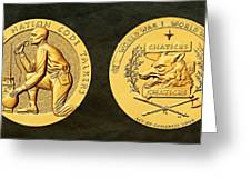 Pawnee Nation Tribe Code Talkers Bronze Medal Art Greeting Card