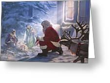 Santa Paying Homage Greeting Card
