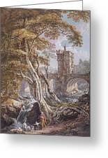 View Of The Old Welsh Bridge Greeting Card