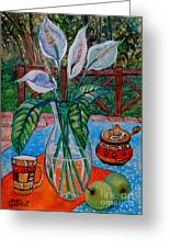 Peace Lilies On The Patio Greeting Card