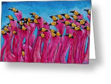 Peace Love And Flamingos Greeting Card by Patti Schermerhorn