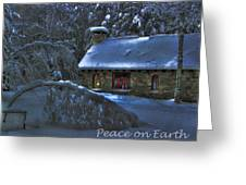 Peace On Earth Holiday Card Moonlight On Stone House.  Greeting Card