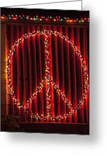 Peace Sign Christmas Lights Greeting Card