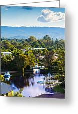 Peaceful Bay By The Mountains Greeting Card