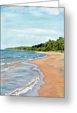 Peaceful Beach At Pier Cove Greeting Card