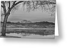 Peaceful Early Morning First Light Longs Peak View Bw Greeting Card